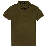 Scotch And Soda Garment Dyed Pique Polo Shirt Army