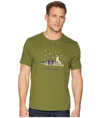 Life Is Good Awesome Universe Smooth Tee Tree Green T Shirt Taupe