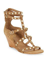 Ash Dafne Wilde Studded Leather Wedge Sandals Brown