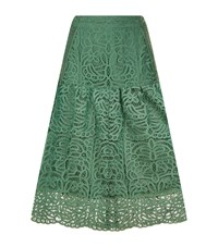 Reiss Eva Lace Midi Skirt Female Green