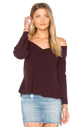 525 America Crop Peplum Sweater Wine