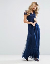Chi Chi London Tulle Maxi Dress With Scallop Lace Trim Navy