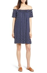 Bobeau Off The Shoulder Knit Dress Navy Polka Dots