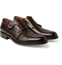 O'keeffe Cap Toe Polished Leather Monk Strap Shoes Dark Brown