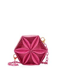 Nancy Gonzalez Rossette Circle Crocodile Crossbody Bag Pink