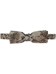 Dolce And Gabbana Floral Jacquard Bow Tie Brown