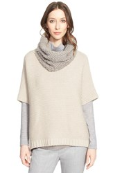Women's Fabiana Filippi Short Sleeve Cape Sweater With Removable Genuine Shearling Collar Taupe