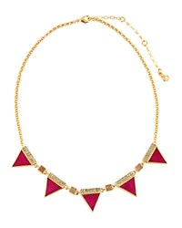 Charm And Chain Spike Collar Necklace 16 Pink