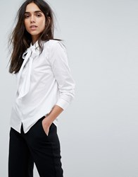 Selected Bow Tie Neck Shirt White