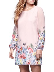Yumi Tropical Floral Print Long Sleeve Dress Soft Pink