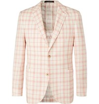 Richard James Ivory Checked Linen Wool And Silk Blend Blazer Coral