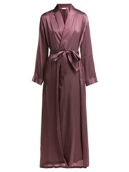Derek Rose Brindisi Polka Dot Silk Satin Robe Burgundy