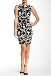 Nicole Miller Printed Jersey Bodycon Dress Black