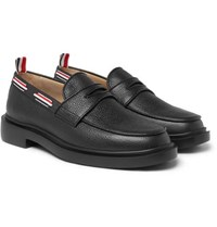 Thom Browne Grosgrain Trimmed Pebble Grain Leather Penny Loafers Black