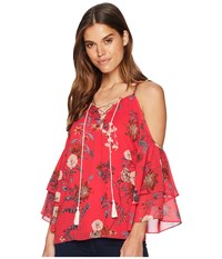 Miss Me Halter Open Shoulder Lace Up Top Multi Red Clothing