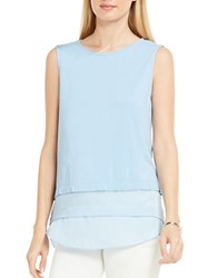 Vince Camuto Tailored Fit Layered Hem Sleeveless Top Light Blue