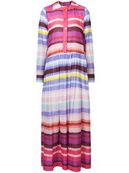 Michel Klein Striped Maxi Shirt Dress Multicolour