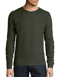 Selected Textured Cotton Blend Sweater Forest Night