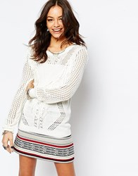 Only Fringe Detail Long Knit Tunic Cream
