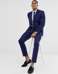 Selected Homme Slim Suit Trouser In Navy Window Check