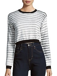 Evil Twin Cropped Striped Sweater Black White Combo