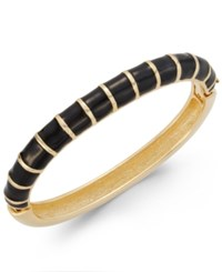 Charter Club Erwin Pearl Atelier For Gold Tone Striped Hinged Bangle Bracelet Only At Macy's Black
