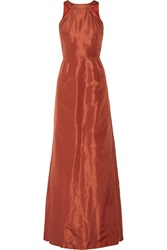 Raoul Brandie Cutout Back Silk Satin Gown Red