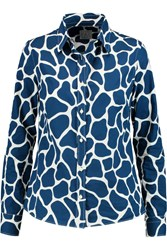 Stella Jean Printed Cotton Poplin Shirt Blue