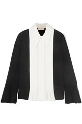 Tory Burch Pleated Paneled Silk Crepe De Chine And Crepe Shirt Black