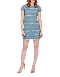Lucky Brand Floral Embroidered Denim Shift Dress Honey Grove