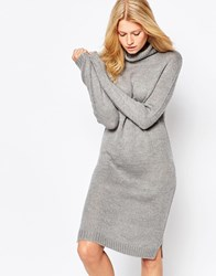 B.Young High Neck Long Sleeve Jumper Dress Medgrey