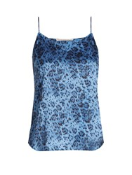Stella Mccartney Ellie Leaping Leopard Print Stretch Silk Cami Top Blue Print