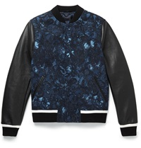 Valentino Leather Panelled Butterfly Print Wool Bomber Jacket Blue