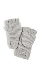 Kate Spade New York Solid Bow Pop Top Mittens Heather Grey
