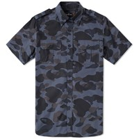 Mr. Bathing Ape Short Sleeve 1St Camo Military Shirt Black