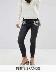 New Look Petite Embrodiered Skinny Jean Gray