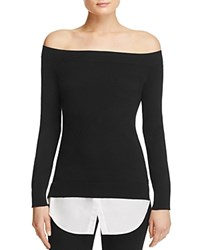 Aqua Boat Neck Layered Look Sweater White Black