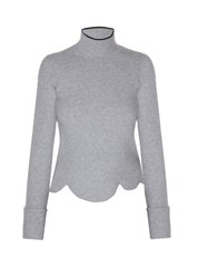 Marni High Neck Scalloped Hem Sweater Light Grey