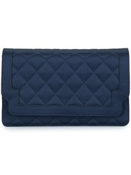 Chanel Vintage Quilted Clutch Hand Bag Blue