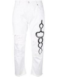 Marcelo Burlon County Of Milan Cropped Ripped Printed Snake Jeans Women Cotton 27 White