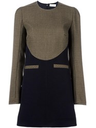 Courreges Houndstooth Contrast Pattern Dress Green