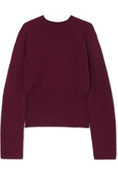 Nanushka Arden Ribbed Knit Sweater Plum