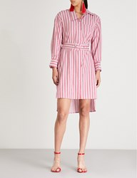 Moandco. Striped Cotton Shirt Dress Red And White Stripe