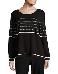 Karl Lagerfeld Long Sleeve Lace And Striped Tee Black