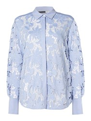 Sportmax Code Longsleeve Lace Shirt With Floral Decoration Light Blue