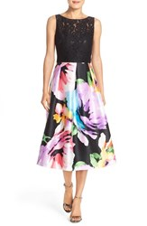 Women's Ellen Tracy Mixed Media Fit And Flare Midi Dress