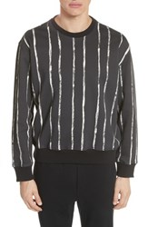 3.1 Phillip Lim Paint Stripe Crewneck Sweatshirt Black White