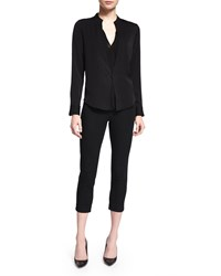 Halston Long Sleeve One Button Top Black