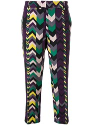 Missoni Vintage 2000'S Geometric Pattern Cropped Trousers Purple