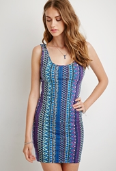 Forever 21 Geo Tribal Print Bodycon Dress Blue Purple